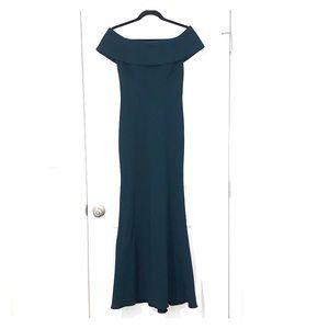 Long teal green dress
